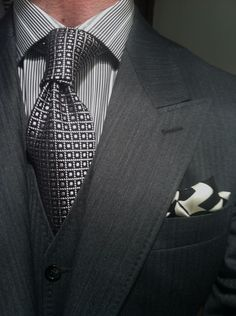 WIWT Grey Herringbone 3-Piece Suit MTM by Scabal fitted by Lowet Tailors Shirt, Tie Square all by Tom Ford