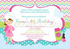 Printable InvitationNEW Spa Party Girls by CasburyLane on Etsy
