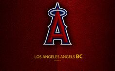 Download wallpapers Los Angeles Angels, 4K, American baseball club, leather texture, logo, MLB, Anaheim, California, USA, Major League Baseball, emblem