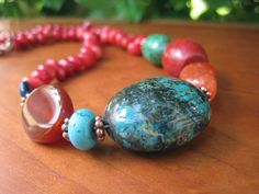 Gemstone Necklace  Stone  Orange Turquoise Red by inbloomdesigns