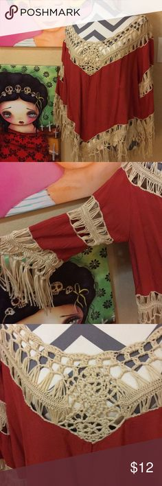 NWT crochet tunic/cover up. NWT crochet tunic/cover up that is like a burnt orange color, very boho with the great fringe through out. Dreamers Swim Coverups