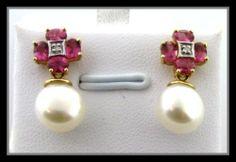Pink Tourmaline Pearl Diamond Earrings 14k Solid Gold New | eBay