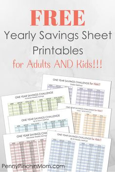 FREE Yearly Savings Sheet Printables for adults and kids!  Get started saving money and you'll have at least $1000 in your hands at the end of the year!  We even have forms for KIDS to learn how to save too!