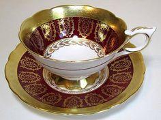 Royal Stafford Tea Cup & Saucer c1940s Heavy Raised Golden Decor Burgundy Beauty