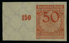 German Empire, 1923/32 Weimar Republic, Michel 342U. 50 Pf. postal stamp 1923, unperforated, mint never hinged stamp from left margin with probably manufactured crease points, signed Wittmann and increases signed Schlegel BPP.