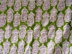 Indian Hand Block Print Cotton Fabric Natural Printed Handmade Sanganeri A377 #Unbranded