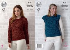 King Cole 4705 Knitting Pattern Sweater & Sleeveless Top in Big Value Chunky