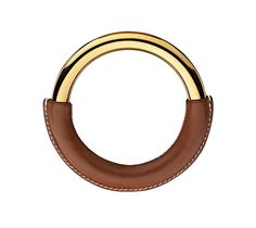 "Loop Oversize Hermes leather bracelet (Size M) Barenia calfskin  Gold plated, 2.8"" diameter."