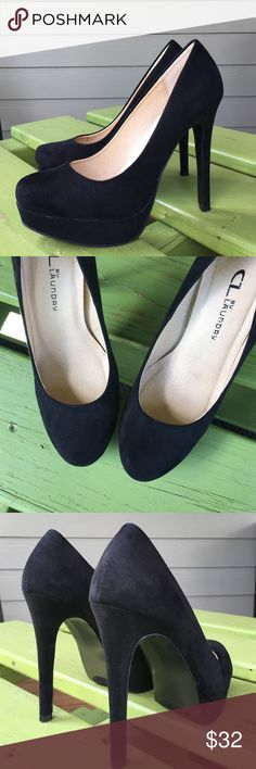 Black high heels Suede-like black high heels, slight platform and stiletto style heel. Insides have a some padding so they are quite comfortable. Worn 2 times. Excellent used condition, two very small normal wear marks. True size 6. From smoke free home. CL by Laundry Shoes Heels