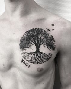 50 Gorgeous and Meaningful Tree Tattoos Inspired by Nature's.- 50 Gorgeous and Meaningful Tree Tattoos Inspired by Nature's Path 50 Gorgeous and Meaningful Tree Tattoos Inspired by Nature& Path – KickAss Things - Tree Tattoo Men, Tree Tattoo Designs, Tattoo Designs For Women, Tree Roots Tattoo, Yggdrasil Tattoo, Norse Tattoo, Raven Tattoo, Rib Tattoos For Guys, Cool Tattoos