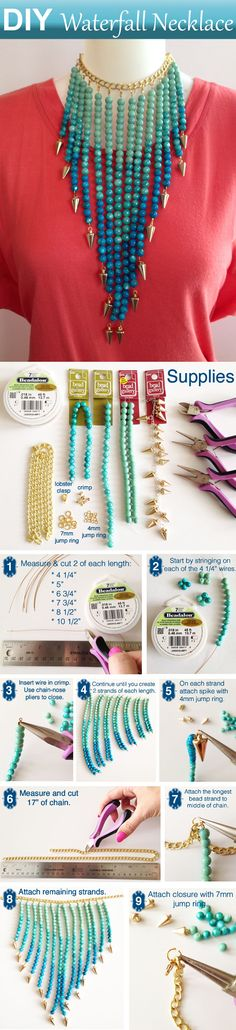 DIY Beaded Jewelry Waterfall Necklace