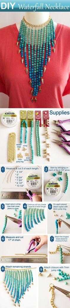 DIY Beaded Jewelry Waterfall Necklace