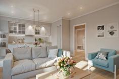 Nyugodt, lágy pasztellszínek 65m2-es lakásban - fehér, bézs és szürke árnyalatok egy csipetnyi türkizzel, természetes anyagokkal