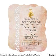 Romantic Winter Roses and Lace Wedding Invite