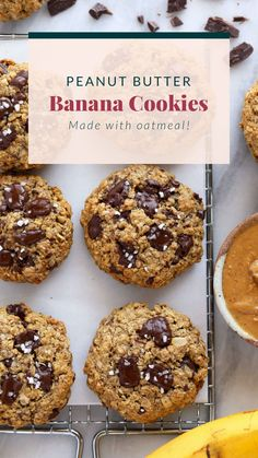 Chewy, delicious Peanut Butter Banana Cookies made with oatmeal and dark chocolate chunks. These peanut butter banana oatmeal cookies are seriously the perfect cookie. Peanut Butter Banana Cookies, Healthy Peanut Butter Cookies, Healthy Oatmeal Cookies, Banana Oatmeal Cookies, Paleo Cookies, Oat Cookies, Peanut Butter Oatmeal, Peanut Butter Cookie Recipe, Healthy Breakfast Snacks