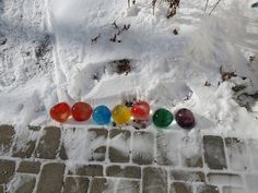 Ice balloons = w/food coloring make nice xmas decorations.... if u have snow!