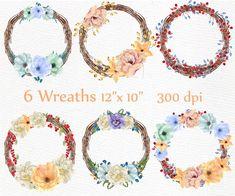 Watercolor wreaths clipart: WREATHS CLIP ART | Etsy