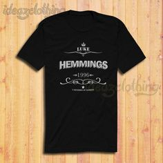 Luke Hemmings Shirt 5sos Shirt 5 Seconds of Summer Shirt Black or Dark... ($17) ❤ liked on Polyvore featuring tops, black, t-shirts, women's clothing, summer tops, dark blue tops, cotton shirts, dark blue shirt and classic fit shirt