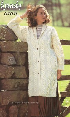 Ladies Aran Long Line Coat Jacket - PDF Aran knitting pattern  To fit four sizes 32/34ins, 36/38ins, 40/42ins, 44/46ins, please see extra photo for