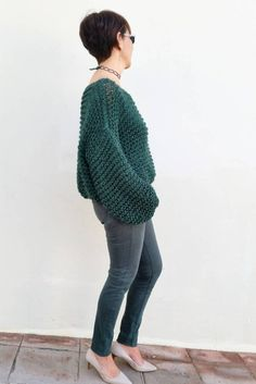 Green is in the air. Chunky green knit sweater.