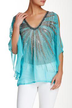 Open Shoulder Embellished Blouse