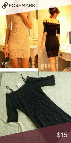 Black Lace Dress NWT Black. Lace overlay dress Size XL but fits more like a L In excellent new condition Dresses Mini