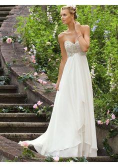 Chiffon Sweetheart Neckline Sheath Style with Beaded Bodice Wedding Dress WML-0008