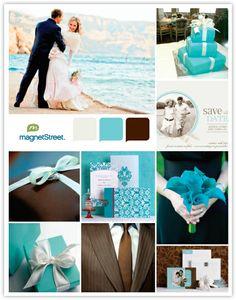 Elegant Wedding Inspiration Board - Tiffany Blue & Chocolate Color Palette