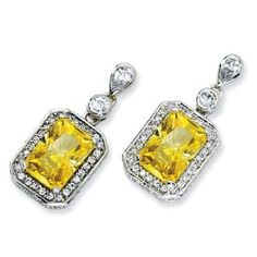 Sterling Silver Canary & White CZ Dangle Post Earrings $74.95