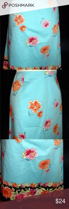 """Harold's NWO  A-line Skirt Size 0 Harold's NWOT Turquoise / Black Floral Print Summer  A-line Skirt Size 0 97% Cotton/ 3% Spandex Unlined, low waist, sidr zipper, orange and pink floral with black scalloped floral at bottom edge Waist: 28"""" Hips: 36"""" Length:24"""" Harold's Skirts A-Line or Full"""