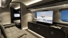 Inside the Most Luxurious Private Jets and What They Cost  -  February 16, 2017:      Bombardier Global 7000 — Suite:    The entertainment suite aboard the Global 7000 is the perfect place for you and your passengers to watch a game or an in‐flight movie on  the large‐screen TV. And thanks to its Ka‐band high‐speed internet, you can stay connected during your flight.