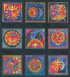 Celestial Dreams Panel Sun Moon Star Bright fabric by Laurel Burch Sun Moon Stars, Sun And Stars, Laurel Burch Fabric, Los Astros, Sun Designs, Sun Art, Moon Design, Design Art, Blue Quilts