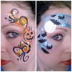 When you think about face painting designs, you probably think about simple kids face painting designs. Many people do not realize that face painting designs go beyond the basic and simple shapes that we see on small children. Visage Halloween, Halloween Make Up, Halloween 2020, Kids Halloween Face Paint, Scary Halloween, Halloween Ideas, Facepaint Halloween, Facepaint Ideas, Halloween Designs