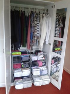 konmari method closet. up and to the right with length, weight, and color makes the closet more inviting.