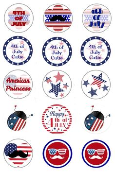 Patriotic bottle cap image sheet made with the Picsart phone app