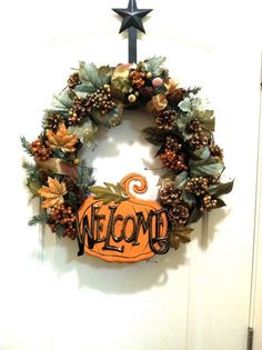 Autumn Welcome WreathThanksgiving seasonPumpkin by FrontDoorWreath