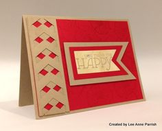 handmade card ... luv kraft and red papers together! ... great use of chevron punch for a woven look column .. magnificent card! ... Stampin' Up!
