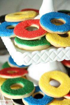 Olympic ring cookies.