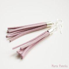 Pastel Violet Purple Suede Tassel Earrings. $12.00, via Etsy.