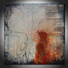 Kleine abstrakte nicht glatt Sculpted Original-Gemälde von Andrada - schwere Textur - Mischtechnik-Gemälde
