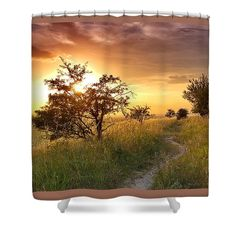 Path to the sunset. Shower curtain for sale. For more motives and staffs (canvas, fine art prints, pillows, mugs etc) chcek my website Shower Curtain Rings, Shower Curtains, Beautiful Sunset, Beautiful Images, Curtains For Sale, Home Deco, Color Show, Amazing Photography, Countryside