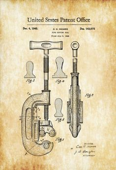 Pipe Cutting Tool Patent Print Art Poster x Tool Poster, Patent Drawing, Vintage Tools, Antique Tools, Canvas Prints, Art Prints, Blue Prints, Patent Prints, Vintage Images