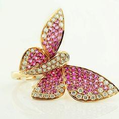 Butterfly ring, pink sapphires<3  #butterfly #kelebek #fly #papillon #Schmetterling #mariposa #farfalla