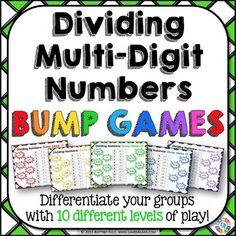 Division Game: 10 Differentiated Dividing Multi-Digit Numb