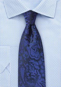 Markante Krawatte im Paisley-Look königsblau