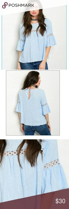 GORGEOUS SUMMER BLOUSE! Beautiful shade of blue with 3/4 bell sleeves and crochet details,  So stylish! Tops
