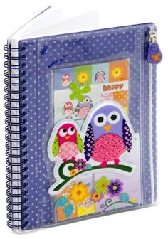 Owl Puffy Sticker Pouch Lined Journal (6x8)