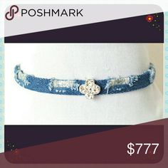 Demin Choker Distressed Diamond Choker Handcrafted  Eco-Friendly  Adjustable to size Jewelry Necklaces