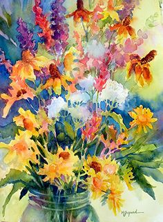 Watercolor painting_WILDFLOWER BONANZA_Mary Shepard original_Colorado wildflowers picked while on a camping trip_on 16 x 20 Arches watercolor paper.   www.maryshepard.com