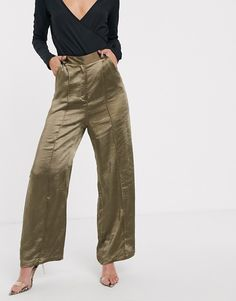 satin tailored trousers at ASOS. Trousers Women Outfit, Tailored Trousers, Parachute Pants, Latest Trends, Ss, Summer Outfits, Khaki Pants, Satin, Clothes For Women